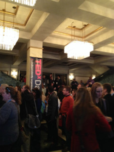 A view of the crowd in the lobby. Full house on hand!